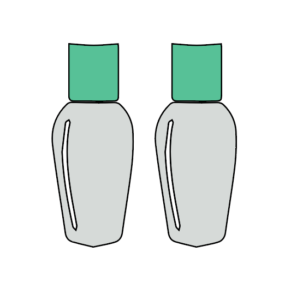 This is an icon of two single-use toiletry bottles with green lids and grey bottoms.