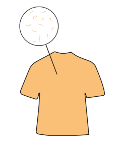 This is a yellow t shirt icon with a magnification of the microfibers the shirt contains.