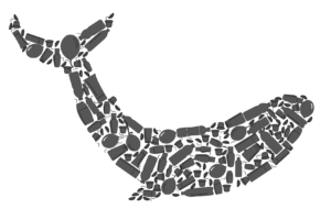 This is a grey whale icon made up of images of single-use plastic pollution items.