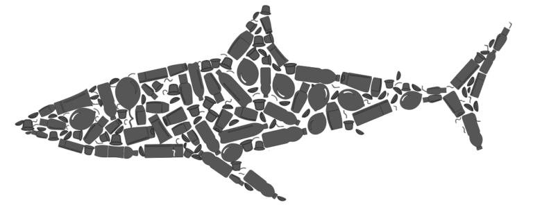 This is a grey shark icon made up of different types of single-use plastic pollution icons.