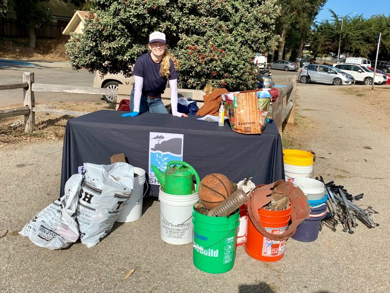 Sanctuary Steward Julia Cheresh leading a beach cleanup at Moran Lake Beach.