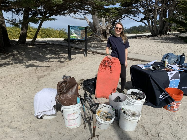 Steward Holly with the trash haul from a cleanup at Carmel Beach